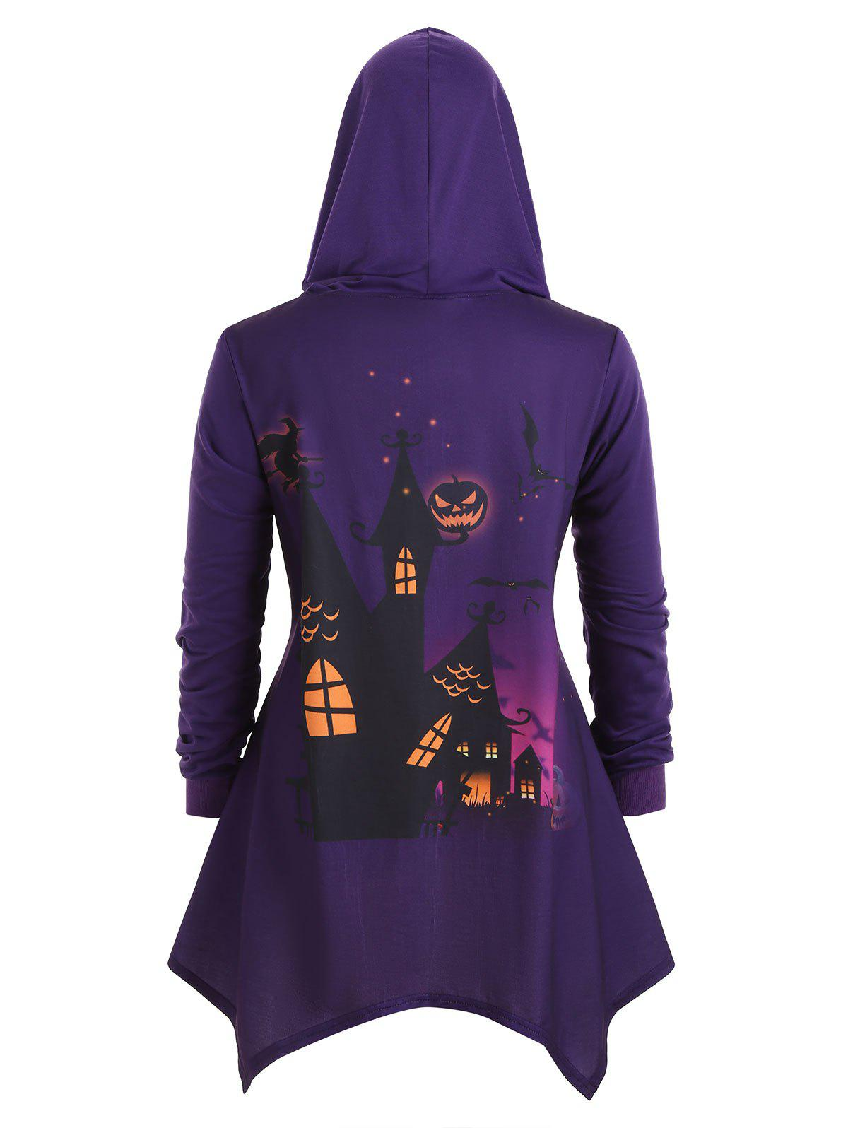 Hooded Bat Pumpkin Print Plus Size Asymmetrical Halloween Coat - PURPLE IRIS 5X