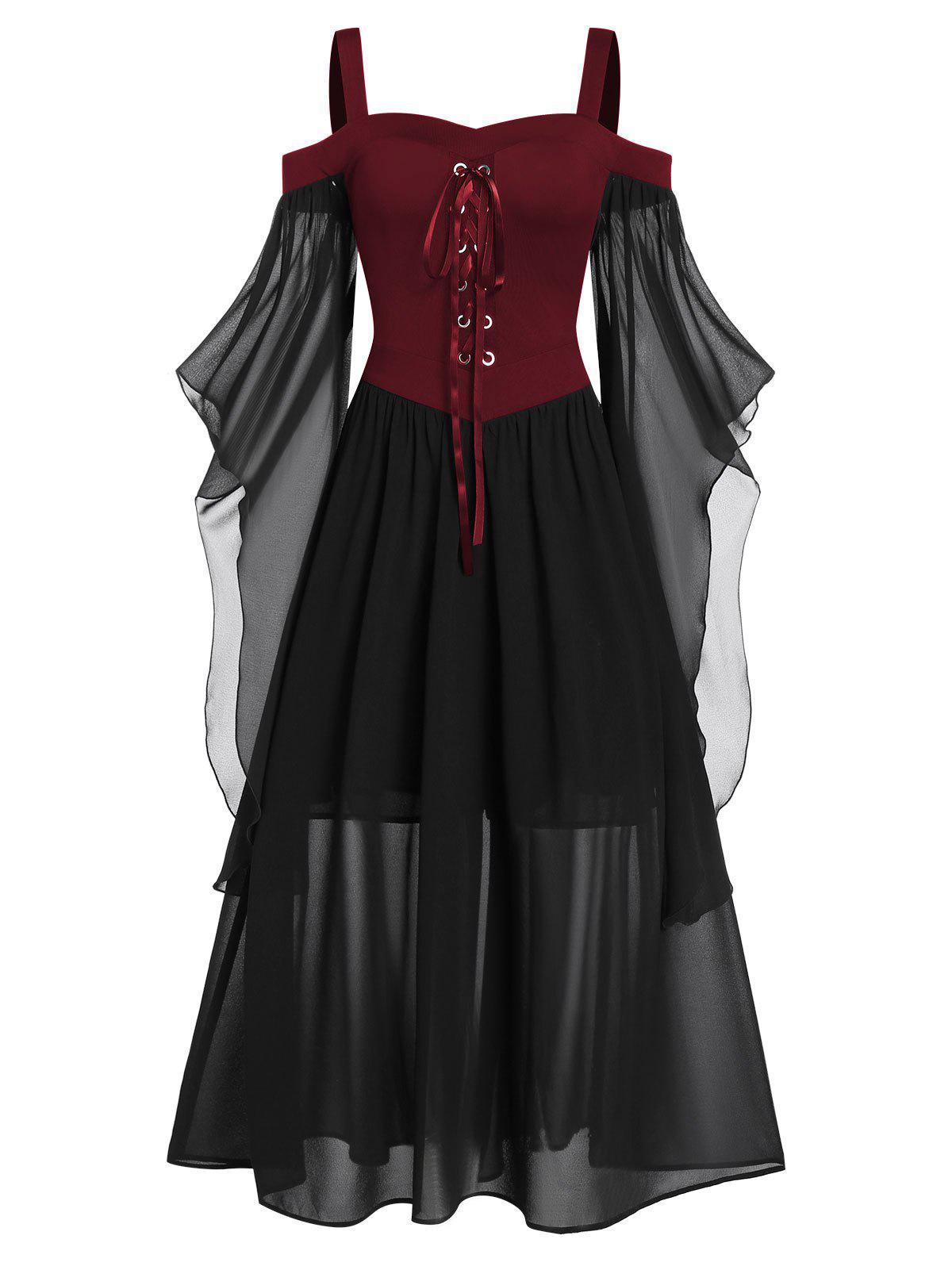 Plus Size Cold Shoulder Butterfly Sleeve Lace Up Halloween Dress