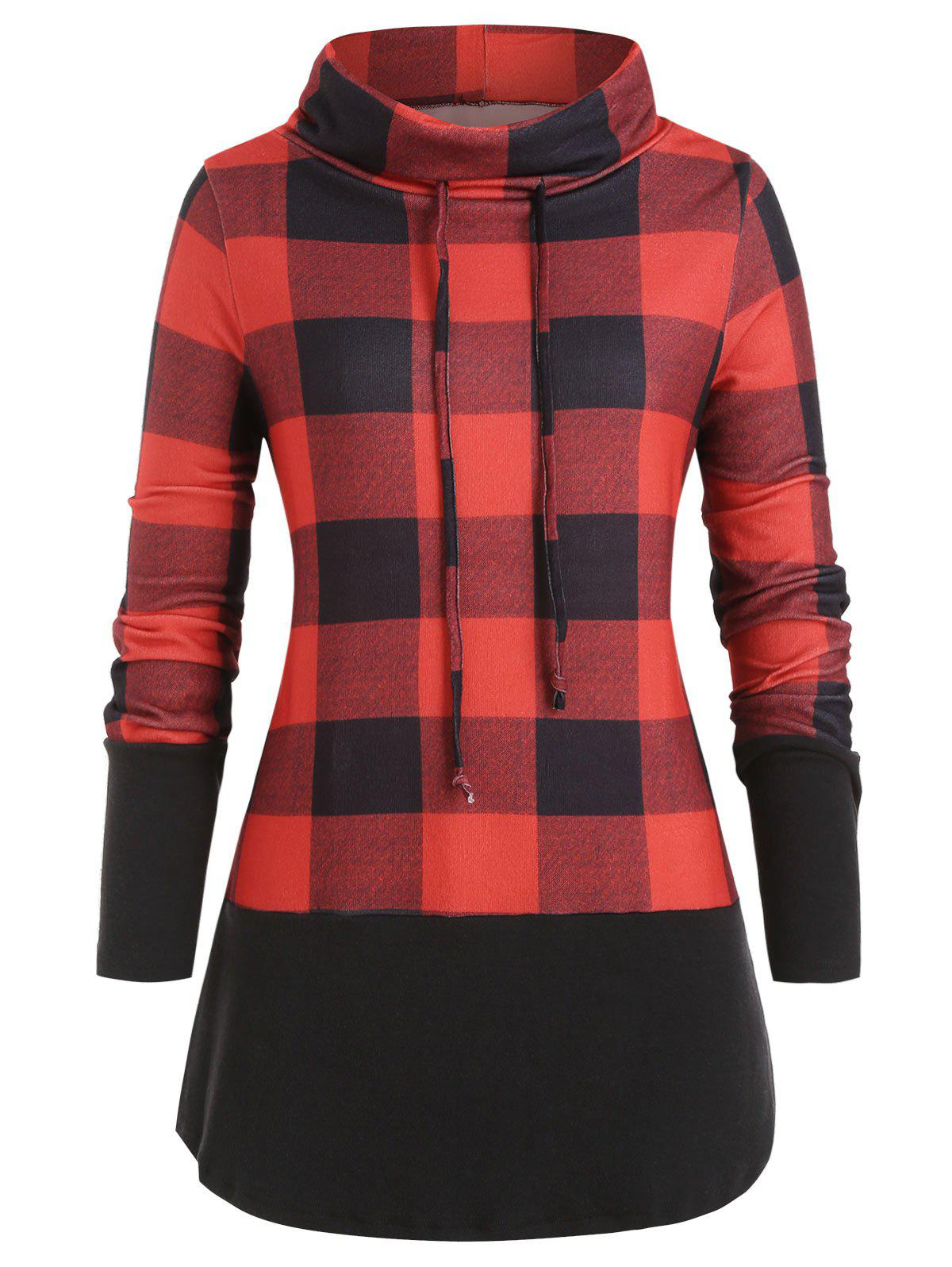 Cowl Neck Brushed Plaid Plus Size Sweatshirt - RED M