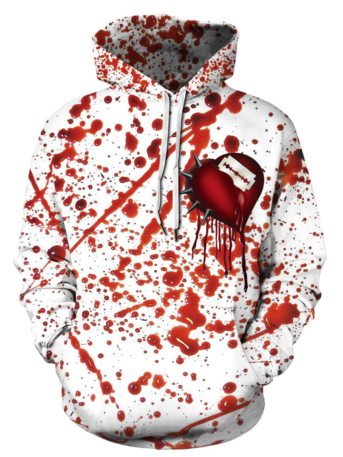 Halloween Blood Heart Print Kangaroo Pocket Hoodie - multicolor 2XL