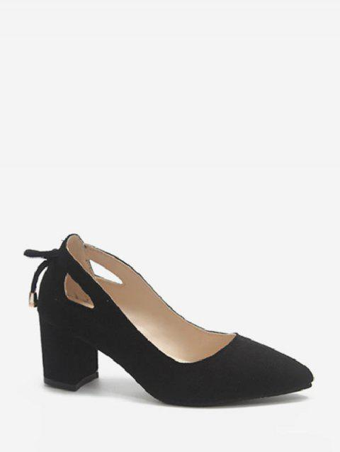 Cut Out Tie Back Chunky Heel Pumps - BLACK EU 39