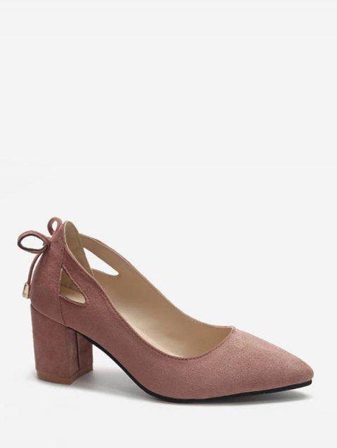 Cut Out Tie Back Chunky Heel Pumps - PINK EU 38