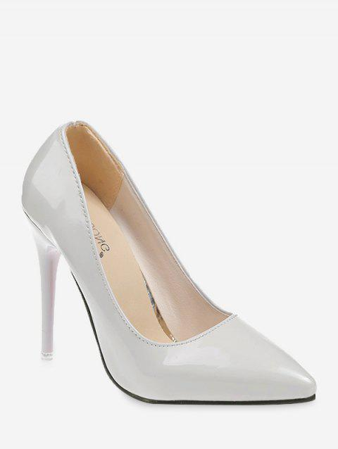 Plain Patent Leather High Heel Pumps - GRAY EU 35