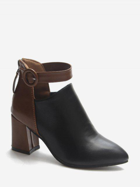Contrast Buckle Cut Out PU Ankle Boots - BLACK EU 36