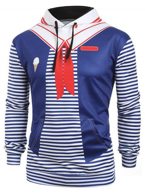 Color Block Striped Faux Sailor Collar Print Kangaroo Pocket Hoodie