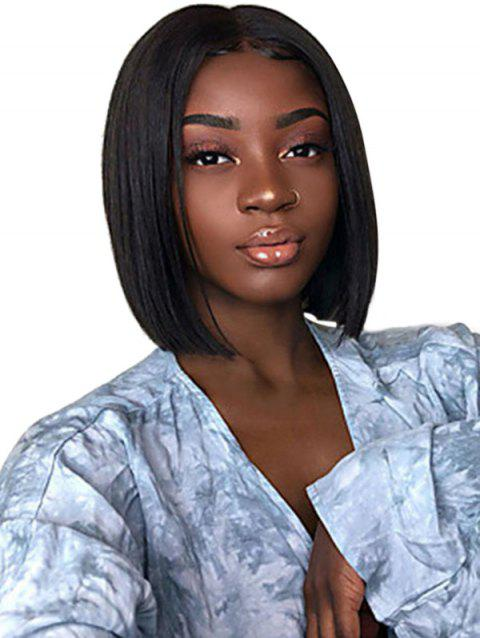 Center Parting Straight Short Bob Synthetic Lace Wig - NATURAL BLACK 10INCH