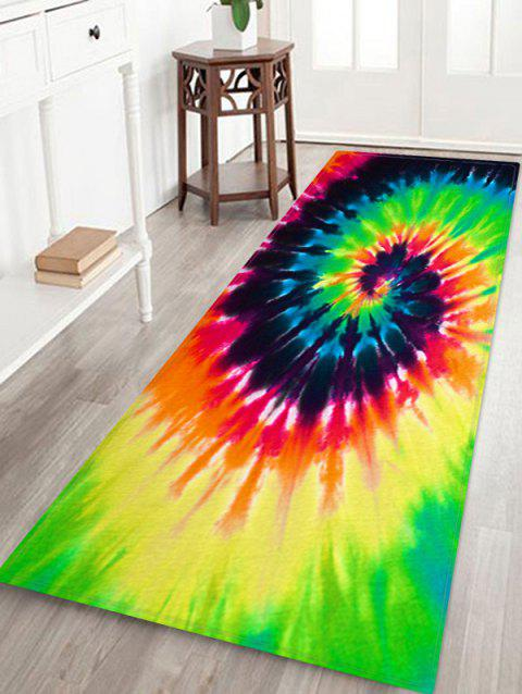 Abstract Vortex Printed Floor Mat - YELLOW GREEN W24 X L71 INCH