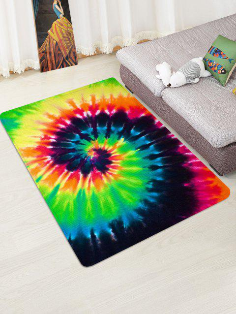 Abstract Vortex Printed Floor Mat - YELLOW GREEN W47 X L63 INCH