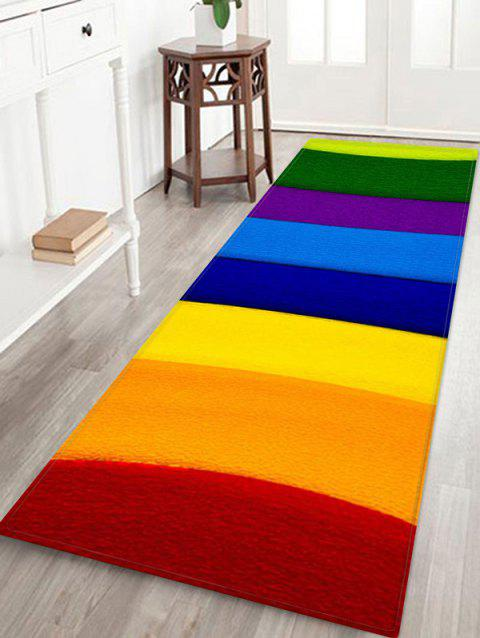 Rainbow Striped Printed Floor Mat - RED W16 X L47 INCH