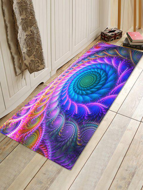 Bohemian Abstract Floral Printed Floor Mat - PURPLE FLOWER W16 X L47 INCH
