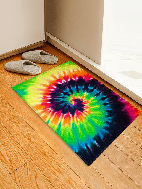 Abstract Vortex Printed Floor Mat - YELLOW GREEN W16 X L24 INCH
