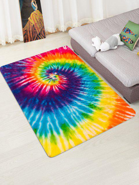 Non-Slip Quick Dry Spiral Psychedelic Tie Dye Floor Rug - YELLOW W47 X L63 INCH