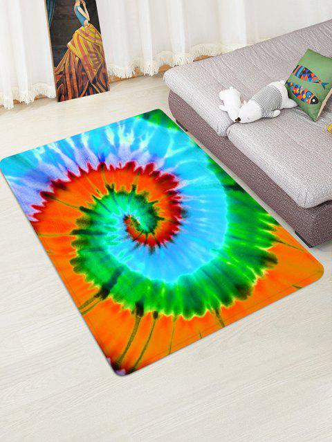 Non-Slip Quick Dry Spiral Psychedelic Tie Dye Floor Pad Rug - GREEN APPLE W47 X L63 INCH