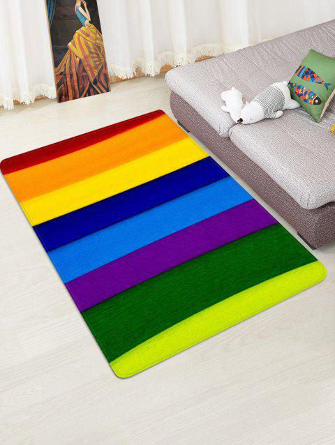 Rainbow Striped Printed Floor Mat - RED W47 X L63 INCH