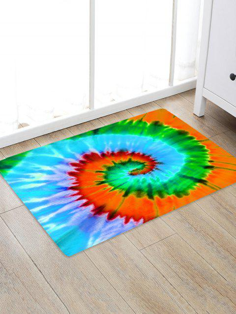 Non-Slip Quick Dry Spiral Psychedelic Tie Dye Floor Pad Rug - GREEN APPLE W16 X L24 INCH