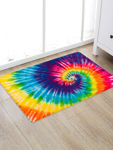 Non-Slip Quick Dry Spiral Psychedelic Tie Dye Floor Rug - YELLOW W24 X L35.5 INCH