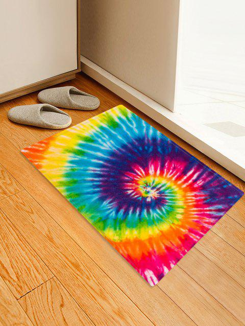 Non-Slip Quick Dry Spiral Psychedelic Tie Dye Floor Rug - YELLOW W16 X L24 INCH