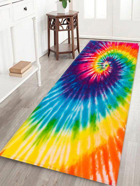 Non-Slip Quick Dry Spiral Psychedelic Tie Dye Floor Rug - YELLOW W24 X L71 INCH