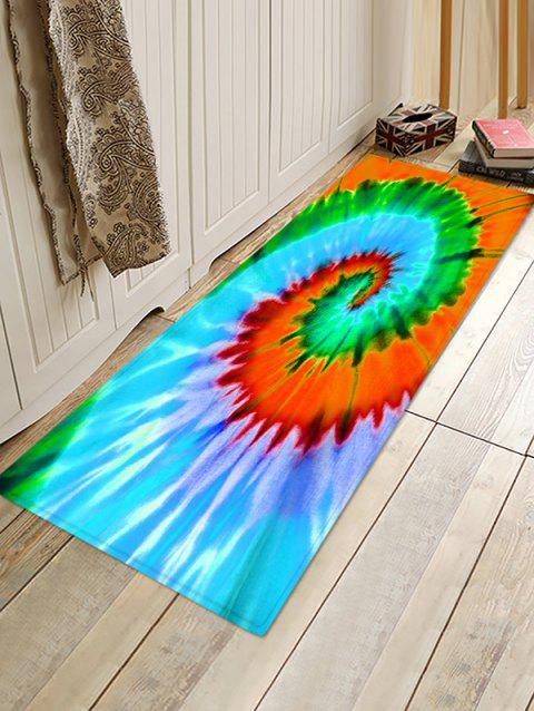 Non-Slip Quick Dry Spiral Psychedelic Tie Dye Floor Pad Rug - GREEN APPLE W24 X L71 INCH