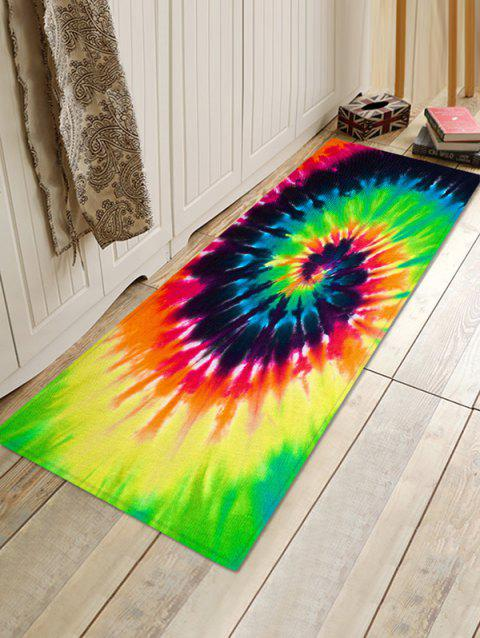 Abstract Vortex Printed Floor Mat - YELLOW GREEN W16 X L47 INCH