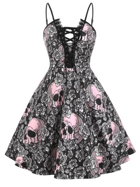 Halloween Skull Print Lace Up Lace Trim Plus Size Dress