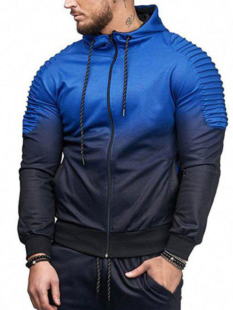 Ombre Shoulder Pleated Sports Zip Hoodie - ROYAL BLUE M