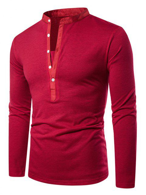 Stand Collar Henley Long Sleeve Casual T Shirt - RED S