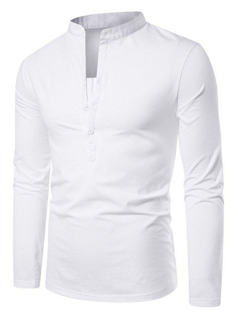 Stand Collar Henley Long Sleeve Casual T Shirt - WHITE M