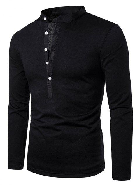 Stand Collar Henley Long Sleeve Casual T Shirt - BLACK S