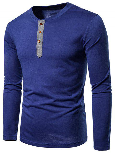 Contrast Henley Long Sleeve Casual T Shirt - NAVY BLUE S