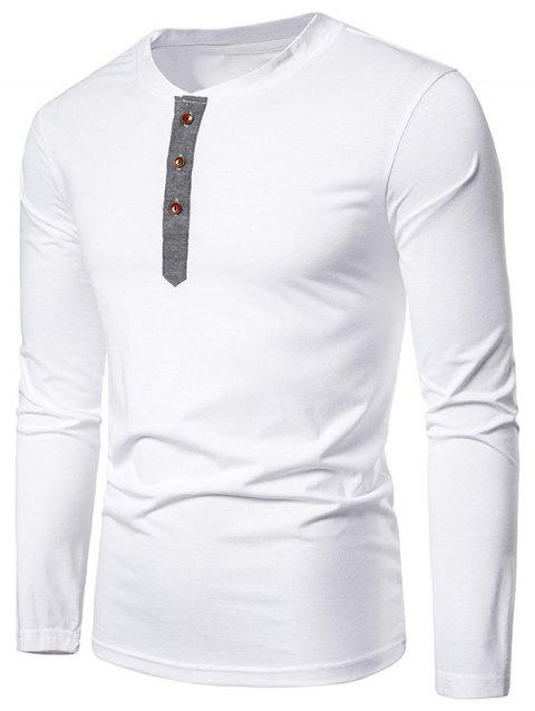 Contrast Henley Long Sleeve Casual T Shirt - WHITE L