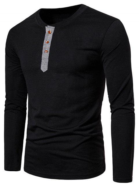 Contrast Henley Long Sleeve Casual T Shirt - BLACK S