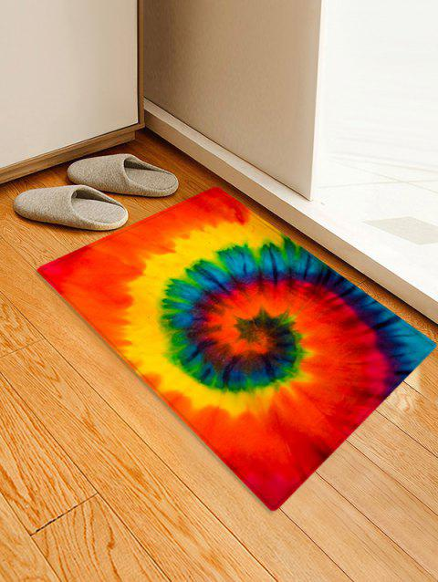 Quick Dry Non-Slip Spiral Psychedelic Tie Dye Floor Pad Rug - BRIGHT ORANGE W24 X L35.5 INCH