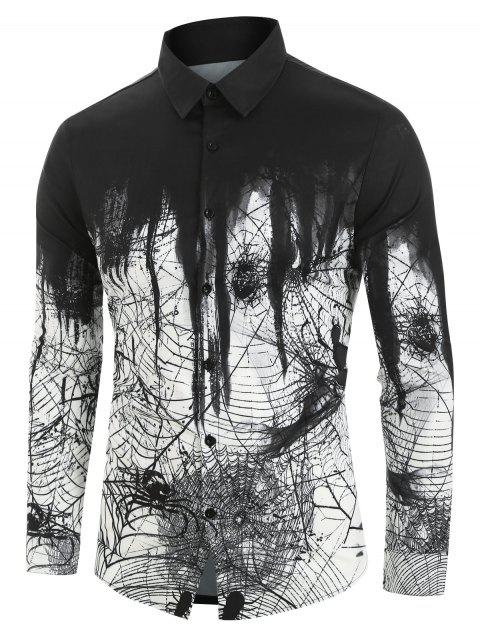 Spider Printed Long Sleeves Shirt - WHITE S