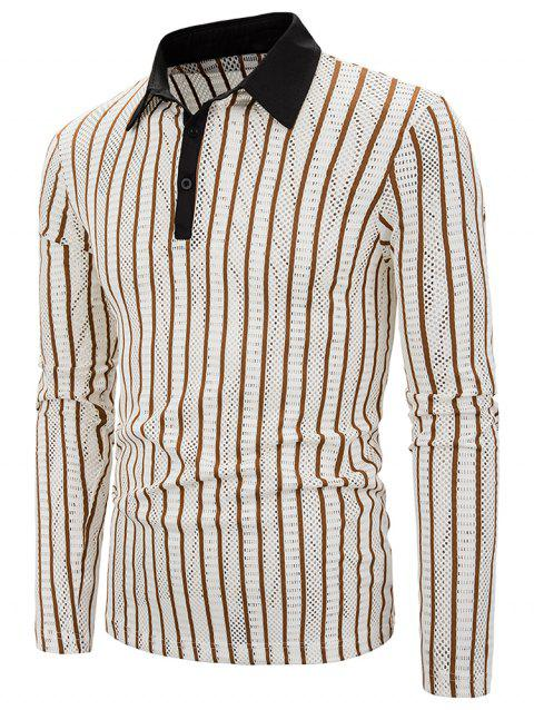 Vertical Striped Hollow Out Turn Down Collar Tee - BROWN SUGAR L
