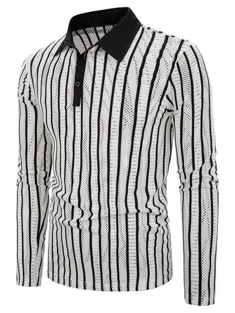 Vertical Striped Hollow Out Turn Down Collar Tee - BLACK 2XL