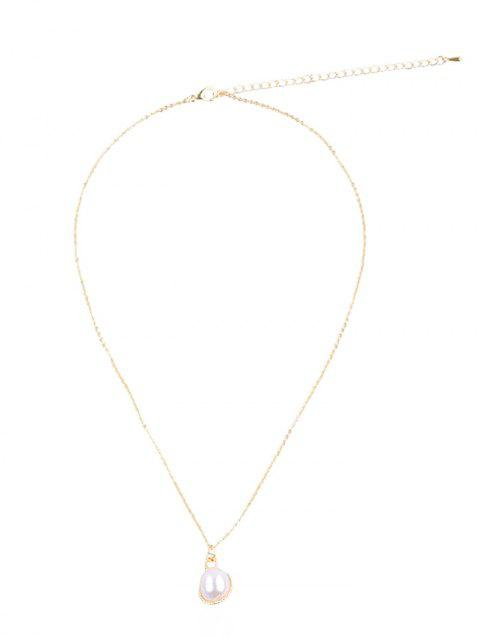 Faux Pearl Decoration Chain Necklace - GOLD SEASHELL