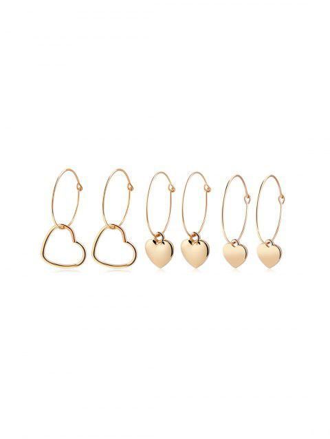 3Pairs Valentine Gift Heart Shape Hoop Earrings Set - GOLD