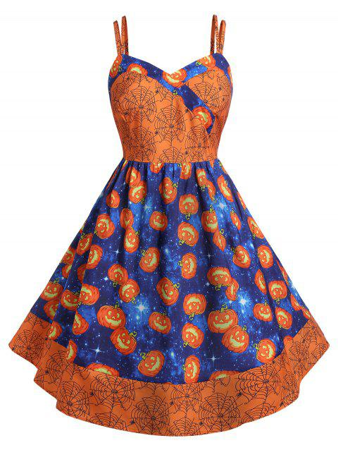 Plus Size Pumpkin Print Halloween Vintage 50s Dress - HALLOWEEN ORANGE 5X
