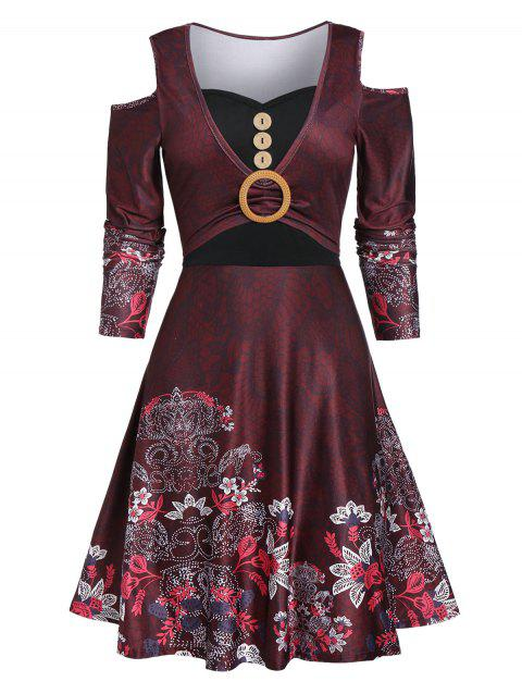 Cold Shoulder Button Floral Print Dress - RED WINE L