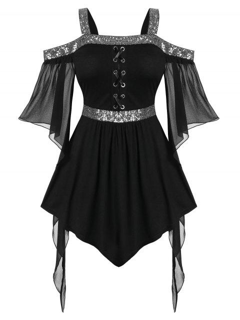Plus Size Butterfly Sleeve Sequins Gothic Peplum T Shirt - BLACK 5X