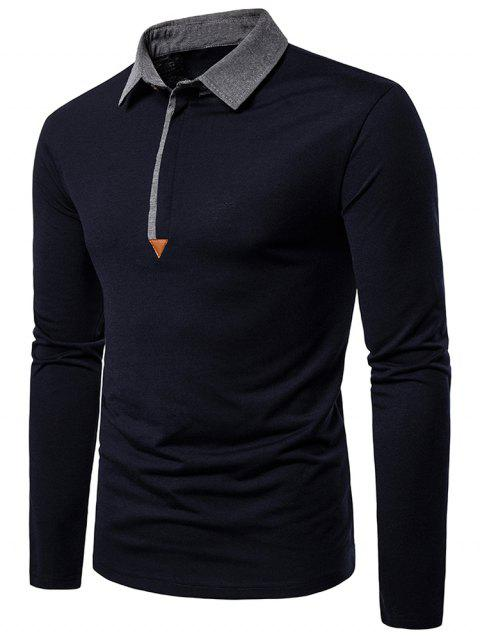 Contrast Collar Button Long Sleeve Casual Tee - DEEP BLUE M