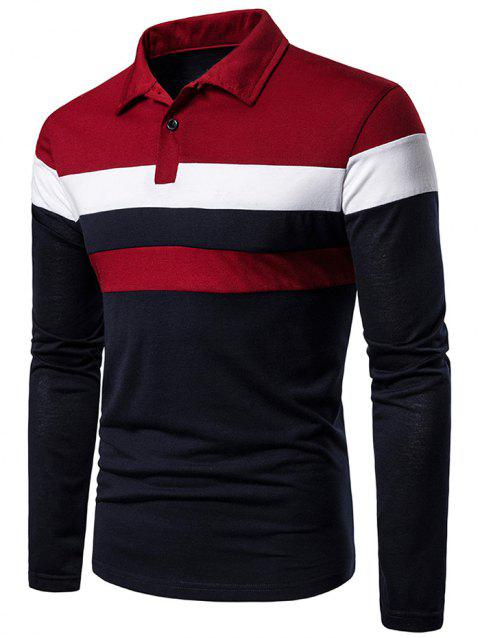 Color Block Turn Down Collar Long Sleeve T Shirt - multicolor A M