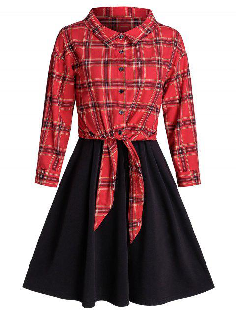 Front Tie Plaid Top And Sleeveless A Line Dress Set