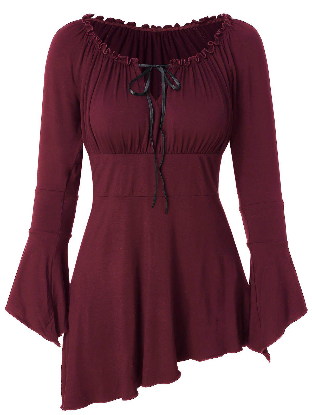 Bell Sleeve Asymmetric T Shirt - RED WINE XL