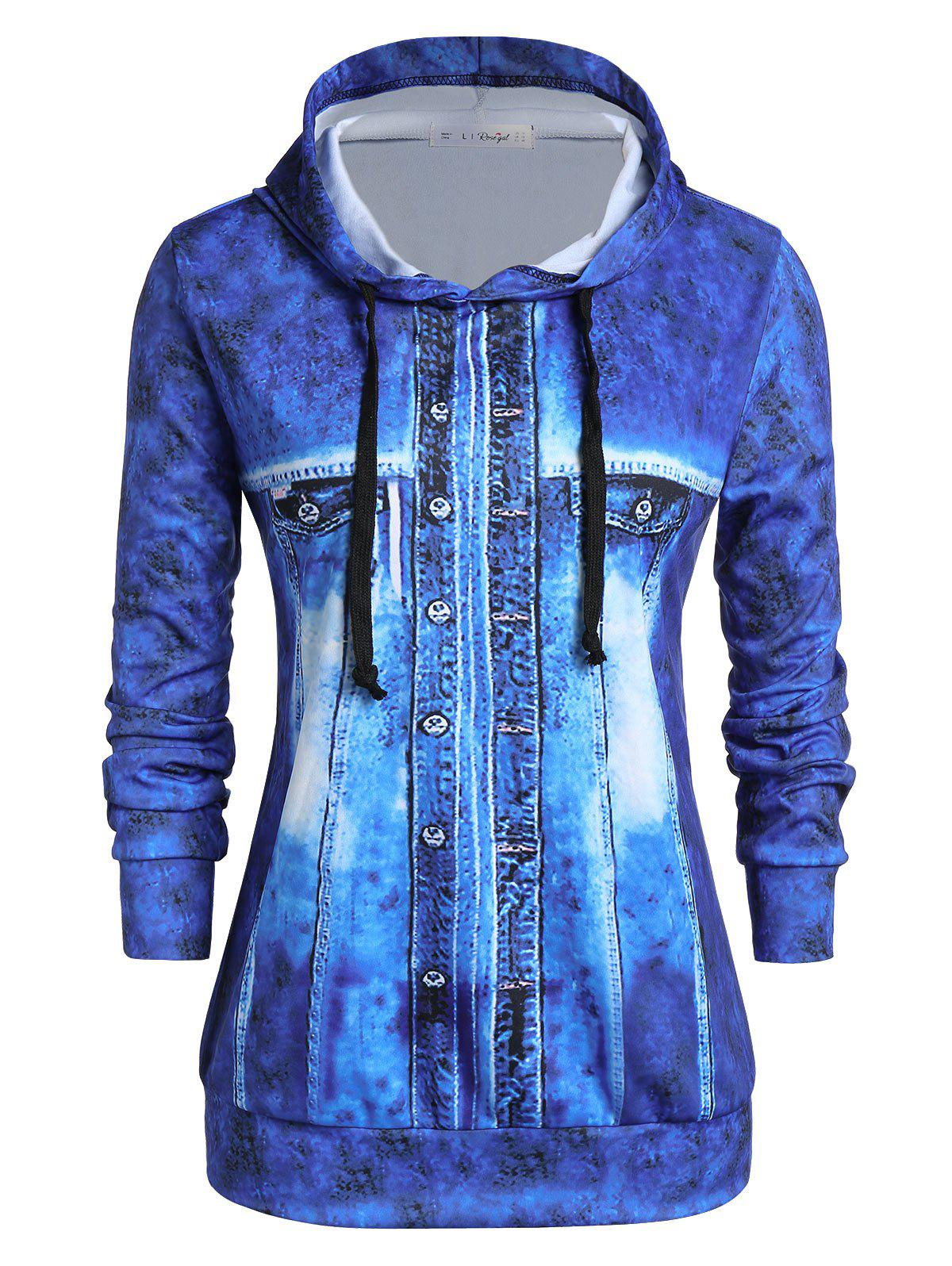 Plus Size 3D Faux Denim Jacket Print Pullover Hoodie - SILK BLUE 1X