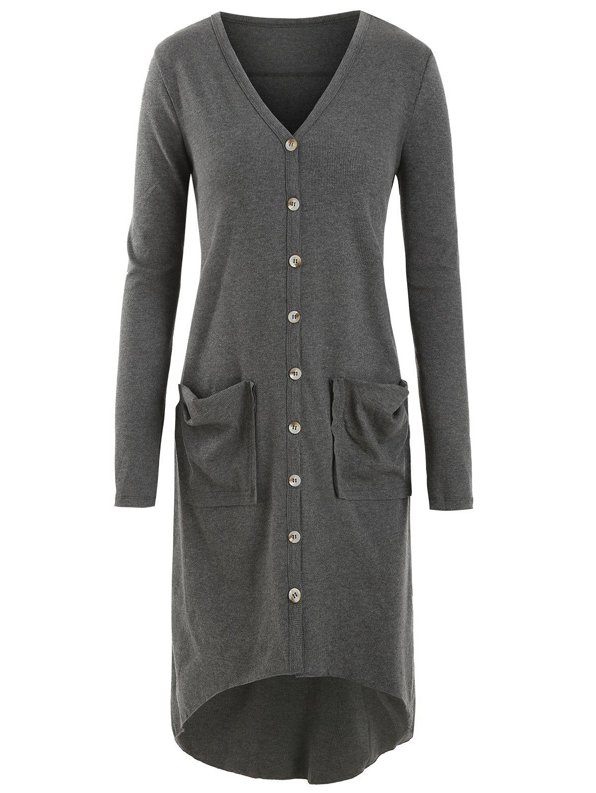 Button Up Pockets High Low Ribbed Plus Size Cardigan - GRAY L