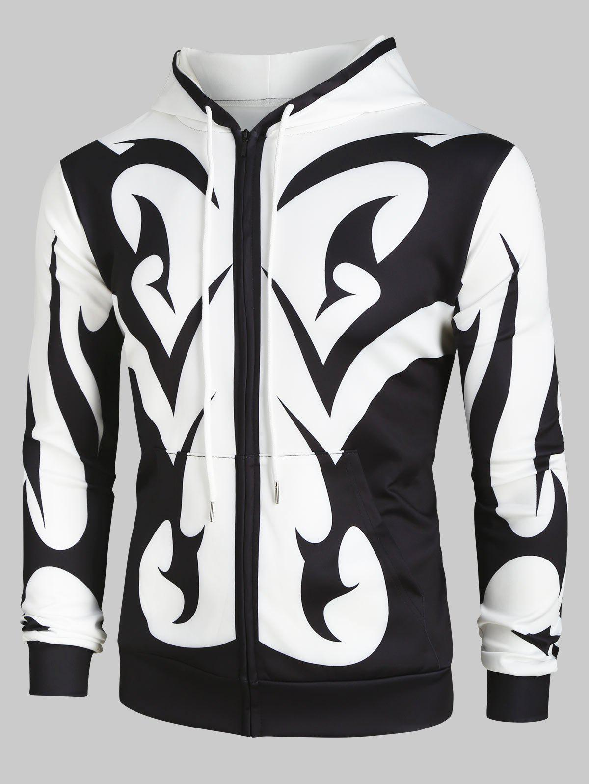 Abstract Print Zip Up Pockets Hoodie - multicolor M