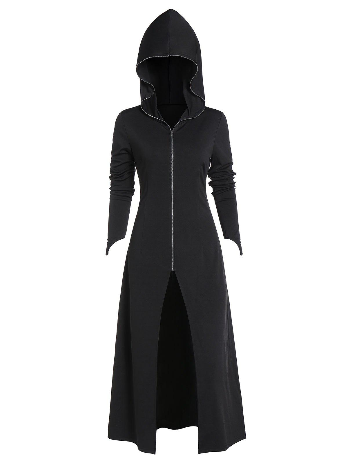 Hooded Zip Up Lace-up Back Gothic Long Coat - BLACK 2XL