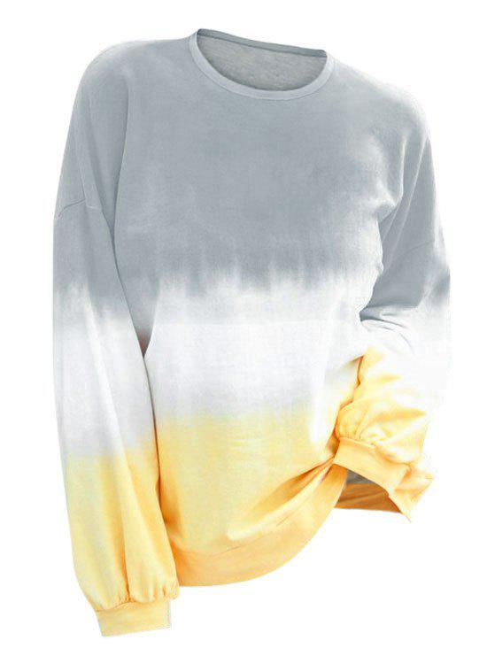 Drop Shoulder Ombre Sweatshirt - PLATINUM 3XL